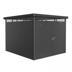 8' x 9' Biohort HighLine H5 Dark Grey Metal Double Door Shed (2.52m x 2.92m)