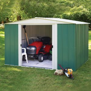 10' x 8' Rowlinson Greenvale Metal Apex Shed - Includes Floor & Installation (3.13m x 2.42m)