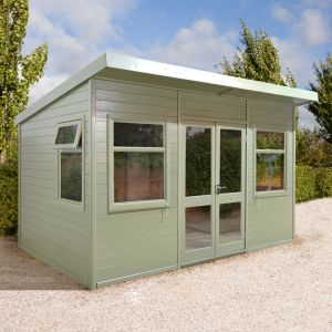 14'x10' (4.2x3m) Shed-Plus Champion Pent Garden Room - Half Glazed