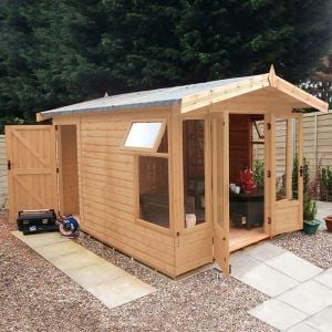 12'x8' (3.6x2.4m) Shed-Plus Champion Summerhouse with Rear Storage