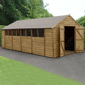 10' x 20' Forest Overlap Pressure Treated Double Door Apex Wooden Shed