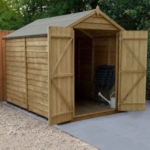 8' x 6' Forest Overlap Pressure Treated Windowless Double Door Apex Wooden Shed