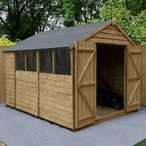 10' x 8' Forest Overlap Pressure Treated Double Door Apex Wooden Shed