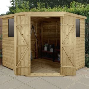 8' x 8' Forest Overlap Pressure Treated Wooden Corner Shed
