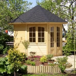 9' x 9' (3.1 x 2.9m) Palmako Veronica 28mm Log Cabin - 2 Windows
