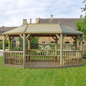 20'x15' (6x4.7m) Premium Wooden Furnished Garden Gazebo with Timber Roof - Seats up to 27 people