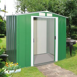 6'x4' (1.8x1.2m) Store More Sapphire Apex Green Metal Shed