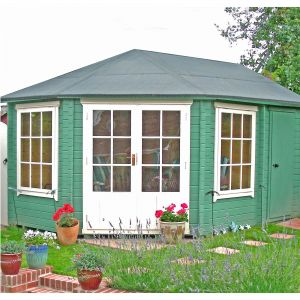 Shire Villandry 4.3m x 3m Corner Log Cabin Summerhouse