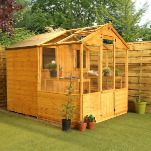 8'x6' (2.4x1.8m) Windsor Traditional Shiplap Wooden Apex Greenhouse Combi Shed
