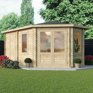 Alpine Aspen Plus RH 5m x 3m Log Cabin with Side Shed 28mm