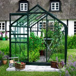 8x6 Green Frame Large Paned Toughened Glass Greenhouse