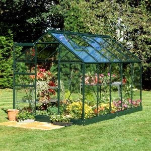 10x6 Green Frame Large Paned Toughened Glass Greenhouse