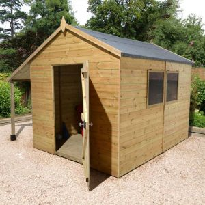 10' x 8' Shed-Plus Champion Heavy Duty Workshop with Logstore - Single Door
