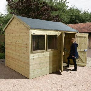 14' x 8' Shed-Plus Champion Heavy Duty Reverse Apex Double Door Shed