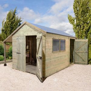 14' x 8' Shed-Plus Champion Combination Workshop with Log Store - Double Doors