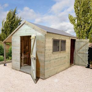14' x 8' Shed-Plus Champion Combination Workshop with Log Store - Single Door (4.2m x 3.3m)