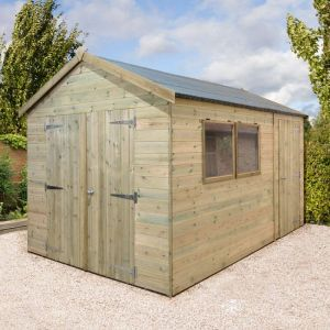 14' x 10' Shed-Plus Champion Heavy Duty Combination Double Door Shed (4.2m x 3m)