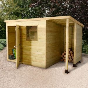 7'x5' (2.1 x 1.5m) Shed Plus Champion Heavy Duty Pent Shed - Single Door on Left with 3' Logstore on Right