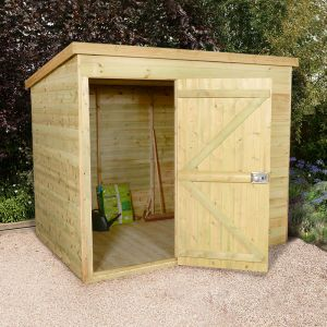 7'x5' (2.1 x 1.5m) Shed-Plus Champion Heavy Duty Pent Shed - Single Door on Left