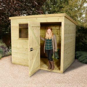7'x5' (2.1 x 1.5m) Shed-Plus Champion Heavy Duty Pent Shed - Single Door on Right