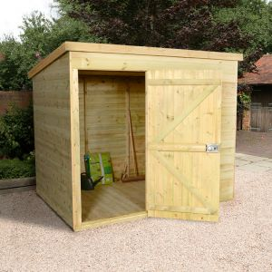 8'x6' (2.4 x 1.8m) Shed-Plus Champion Heavy Duty Pent Shed - Single Door on Left
