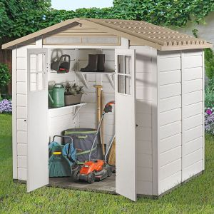 6'6 x 5'4 Shire Tuscany Evo 200 Apex Plastic Double Door Shed (2.02m x 1.62m)