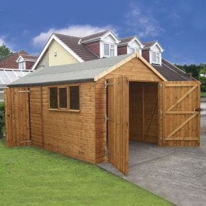 16' x 12' (4.88x3.66m) Traditional Deluxe Wooden Garage