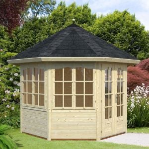 9'x9' (3.1 x 2.9m) Palmako Veronica 28mm Log Cabin - 4 Windows