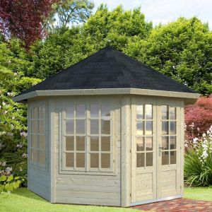 11'x11' (3.4 x 3.4m) Palmako Carmen 34mm Log Cabin - 4 Windows