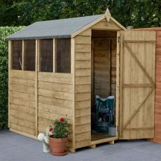 6' x 4' Forest Overlap Pressure Treated Apex Wooden Shed - 4 Windows