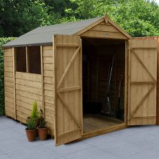 8' x 6' Forest Overlap Pressure Treated Double Door Apex Wooden Shed