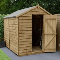8' x 6' Forest Overlap Pressure Treated Windowless Apex Wooden Shed