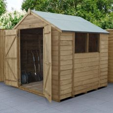 7' x 7' Forest Overlap Pressure Treated Shed Double Door Apex Wooden Shed