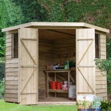 7' x 7' Forest Overlap Pressure Treated Wooden Corner Shed