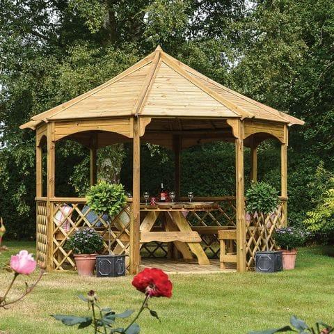 12'x12' (3.6x3.6m) Rowlinson Buckingham Wooden Garden Gazebo