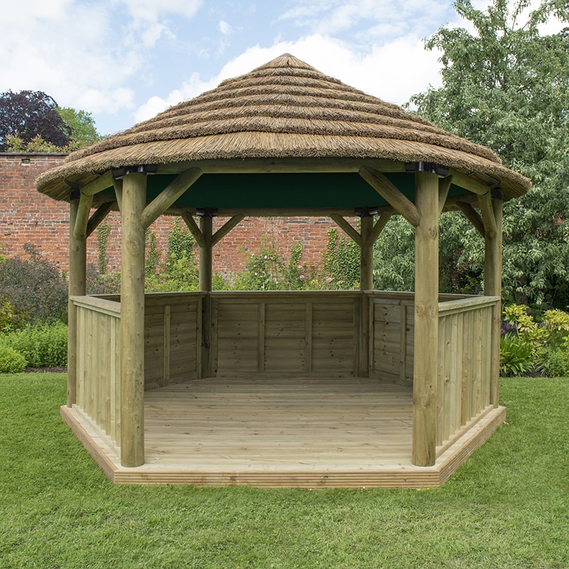 13'x12' (4x3.5m) Luxury Wooden Garden Gazebo with Country Thatch Roof - Seats up to 15 people