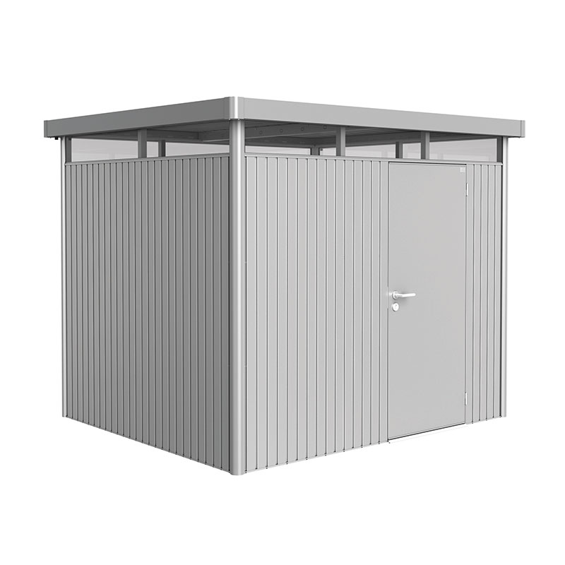 8' x 7' Biohort HighLine H3 Silver Metal Shed with window skylight (2.52m x 2.12m)