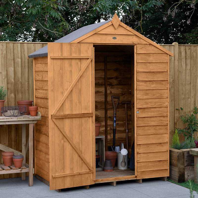 5' x 3' Forest Kielder Overlap Dip Treated Windowless Apex Wooden Shed (1.64m x 1.01m)