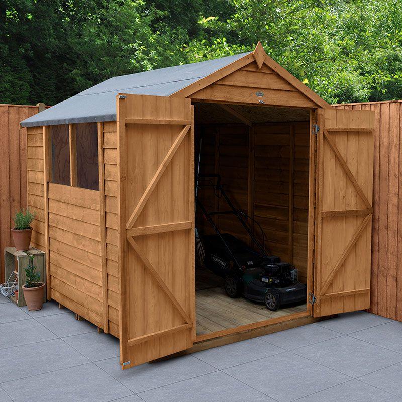 8' x 6' Forest Kielder Overlap Dip Treated Double Door Apex Wooden Shed (2.43m x 1.99m)