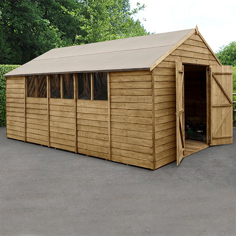 10' x 15' Forest Epping Overlap Pressure Treated Double Door Apex Wooden Shed (3.20m x 4.49m)