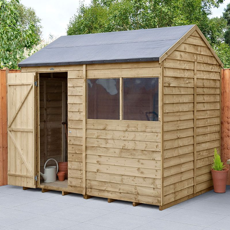 8' x 6' Forest Epping Overlap Pressure Treated Reverse Apex Wooden Shed (2.42m x 1.99m)