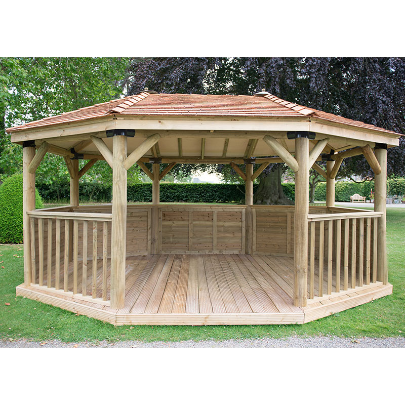 17'x12' (5.1x3.6m) Premium Oval Wooden Garden Gazebo with New England Cedar Roof - Seats up to 22 people