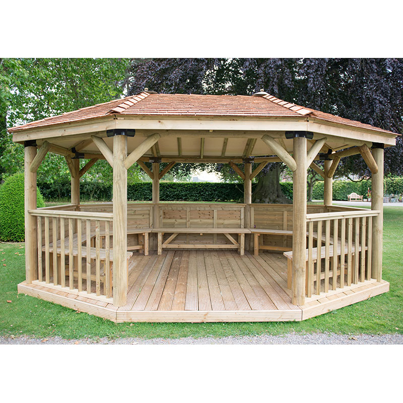 20'x15' (6x4.7m) Premium Oval Wooden Garden Gazebo with New England Cedar Roof - Seats up to 27 people
