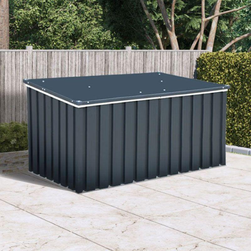4' x 2' Sapphire Anthracite Metal Garden Cushion Storage Box (1.28m x 0.68m)