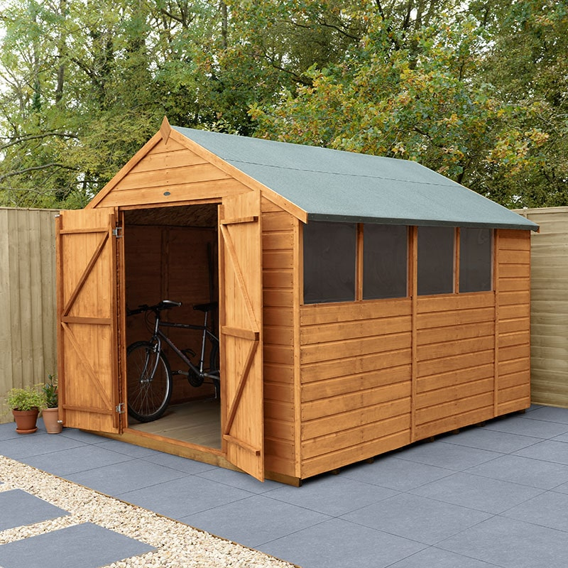 10' x 8' Forest Delamere Shiplap Dip Treated Double Door Apex Wooden Shed (3.02m x 2.61m)