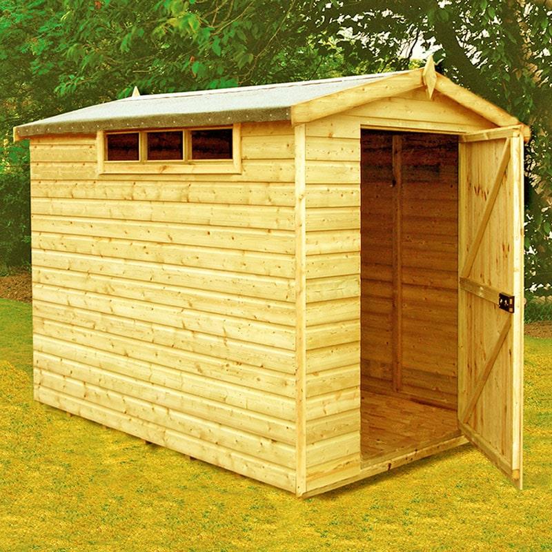 6' x 8' Shire Premium Security Apex Wooden Garden Shed (1.79m x 2.39m)