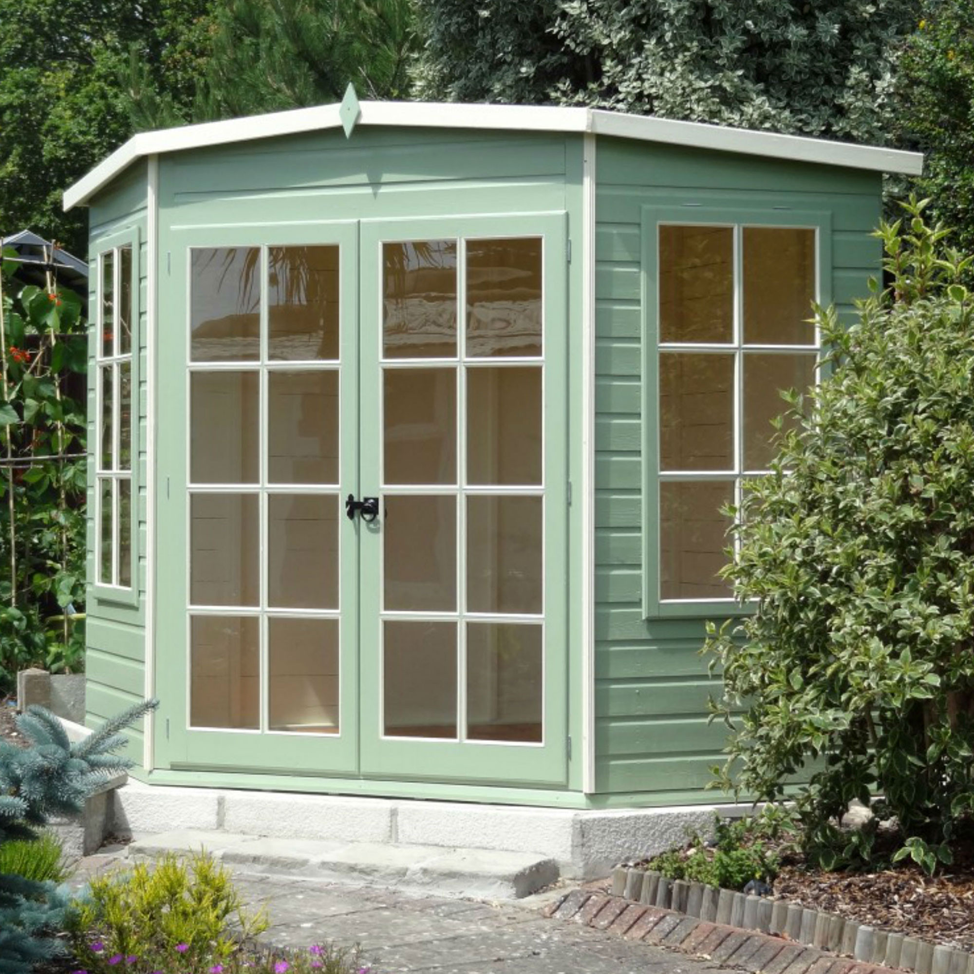 7'5x7'5 Shire Hampton Traditional Corner Wooden Summer House