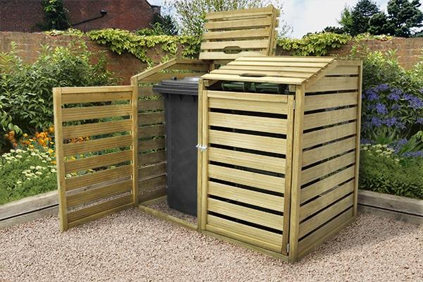 a wooden slatted double wheelie bin storage unit