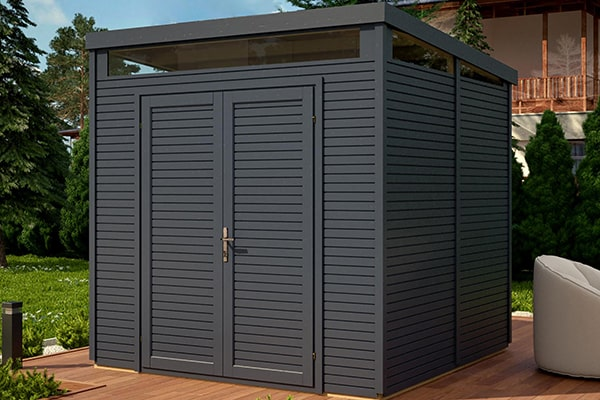 an anthracite-coloured metal security shed with double doors and high windows