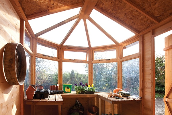 the view from inside a potting shed out through the windows